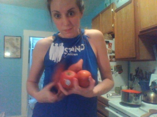 Side note: It's super hard to take a picture of yourself while holding two hand fulls of fruit.